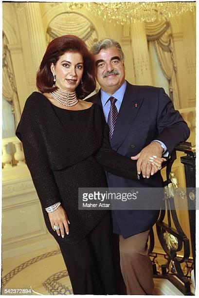Portrait of Rafiq Hariri Lebanese Prime Minister with his Wife Nazek Audeh
