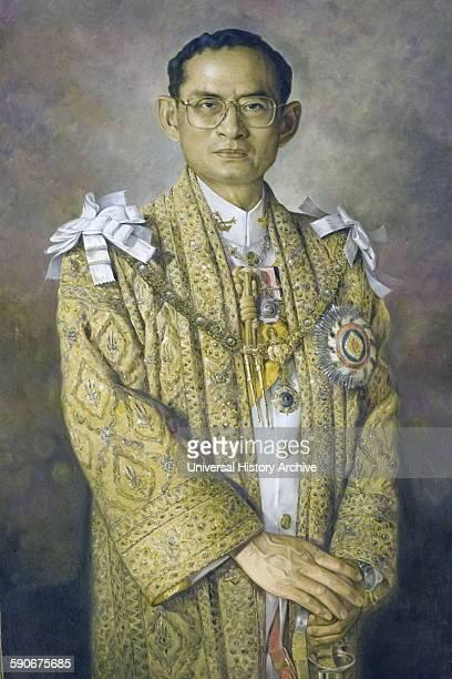 Portrait of Rama IX Bhumibol Adulyadej King of Thailand and ninth monarch of the Chakri Dynasty in ceremonial attire Dated 1967