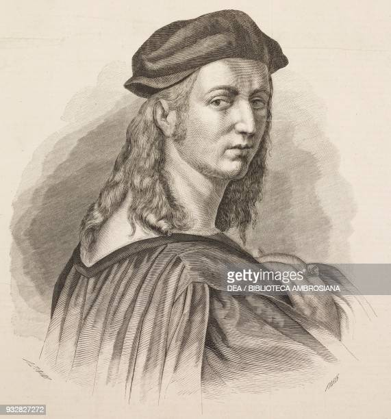 Portrait of Raphael Sanzio copy of the selfprotrait from the fresco in the The School of Athens illustration from La Ilustracion Espanola y Americana...