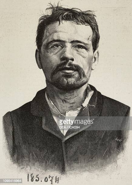Portrait of Ravachol French anarchist engraving from a photograph by the prefecture from L'Illustrazione Italiana year 19 no 15 April 10 1892