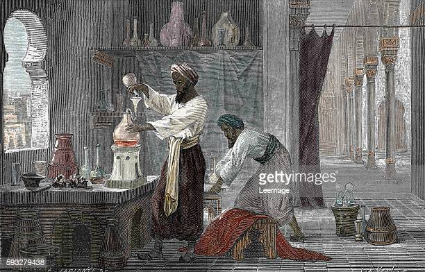 Portrait of Razi polymath physician alchemist in his laboratory in Bagdad Iraq Engraving from LaviedessavantsillustresauMoyenAge b Louis Figuier 1867...