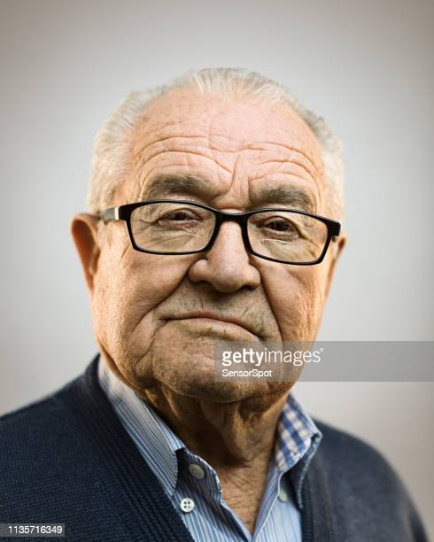 portrait of real caucasian senior man with attitude - atitude imagens e fotografias de stock