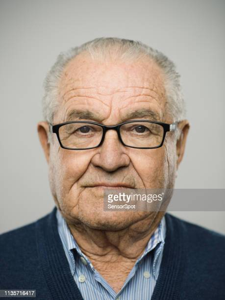 portrait of real caucasian senior man with blank expression - police mugshot stock pictures, royalty-free photos & images
