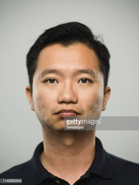 Portrait of real chinese man with serious expression