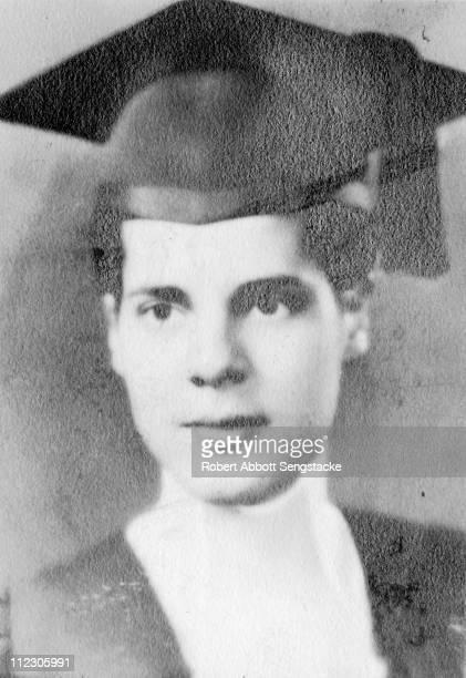 Portrait of Rebecca Sengstacke, sister of Chicago Defender founder Robert Sengstacke Abbott, in cap and gown, late nineteenth century.