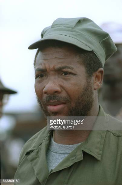 Portrait of rebel leader Charles Taylor taken 21 July 1990 in Roberts Field after taking over this position from government troops of President...