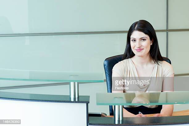 Portrait of receptionist smiling