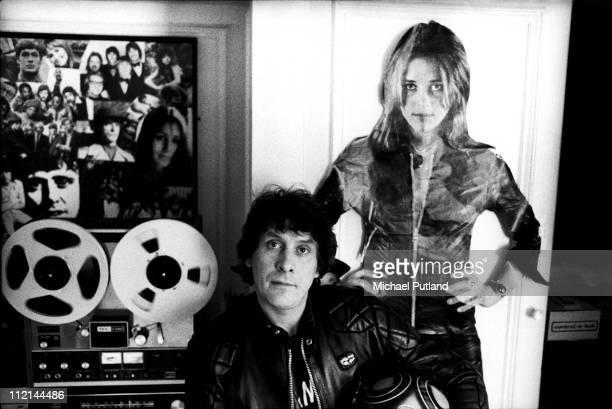 Portrait of record producer Mickie Most at his RAK Records headquarters London 27th February 1975 with a cardboard cutout of RAK artist Suzi Quatro