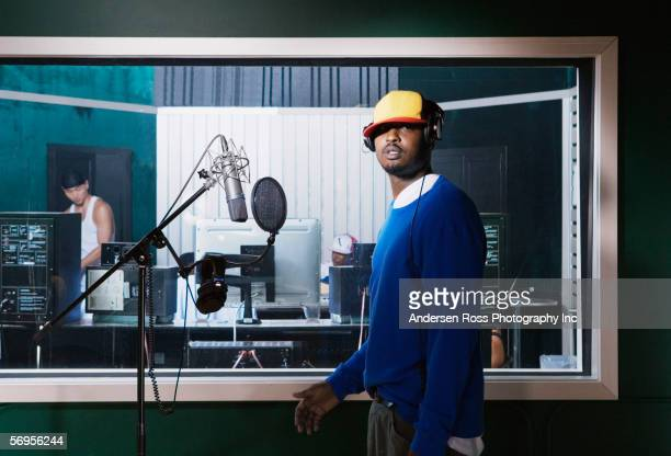 portrait of recording artist - recording studio stock pictures, royalty-free photos & images