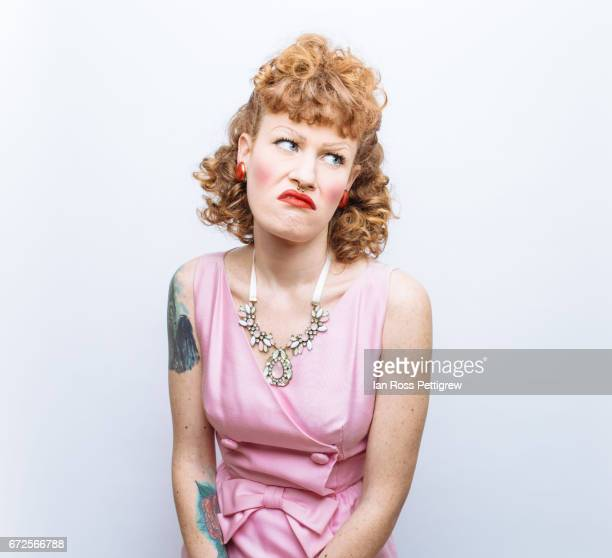 Portrait of red hair woman with retro makeup