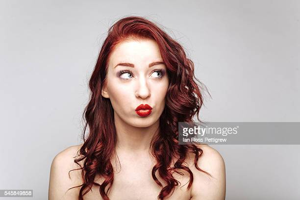 Portrait of red haired model