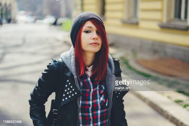 portrait of red haired teenage girl - coat stock pictures, royalty-free photos & images