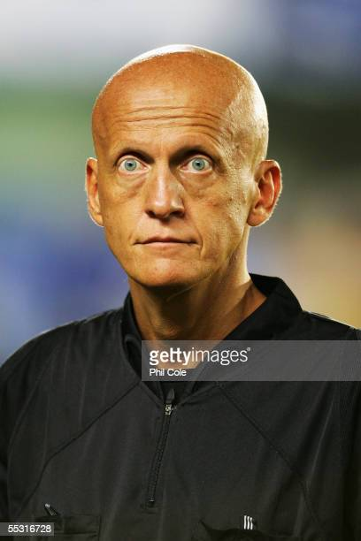 A portrait of referee Pierluigi Collina prior to the UEFA Champions League third qualifying round second leg match between Villarreal and Everton at...