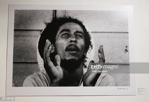 A portrait of reggae legend Bob Marley at the Private View of the new photographic exhibiton Tek A Picture A Dis at the Sony Ericsson Proud Camden on...