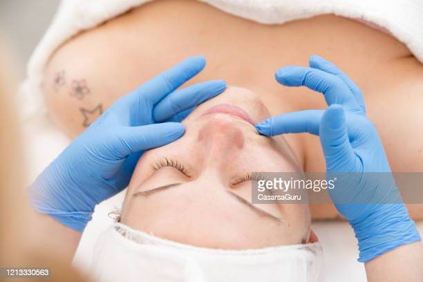 portrait of relaxed adult woman on beauty treatment - stock photo - vaseline stock pictures, royalty-free photos & images