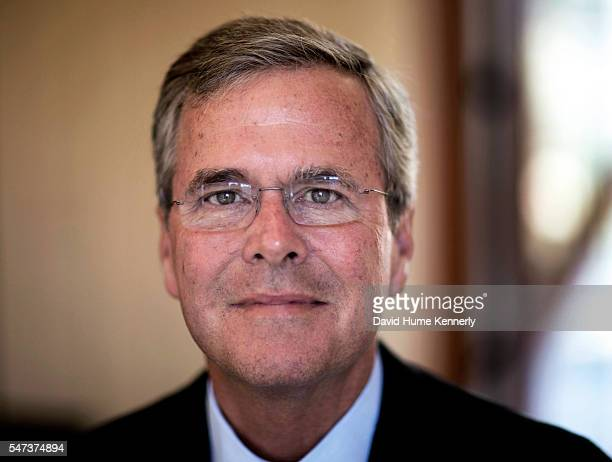 Portrait of Republican candidate Gov Jeb Bush of Florida at the Freedom Partners Chamber of Commerce a freemarket advocacy nonprofit funded by...