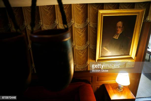 A portrait of Rev Ezra Ripley hangs inside the Old Manse in Concord MA on Oct 16 2017 Local residents fear that a proposed $18 million visitors...