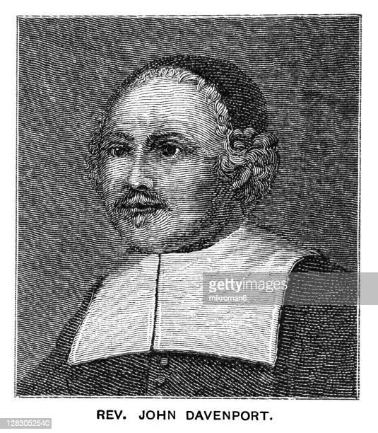 portrait of rev john davenport, english puritan clergyman and co-founder of the american colony of new haven - government minister stock pictures, royalty-free photos & images