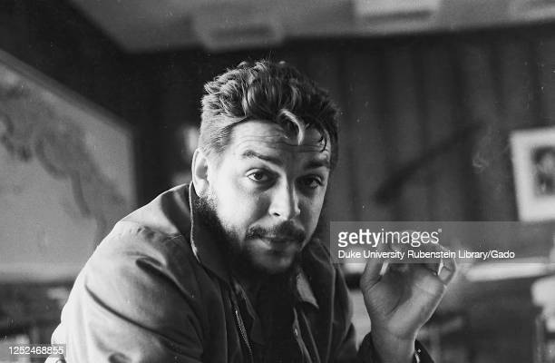 Portrait of revolutionary leader Comandante Ernesto Che Guevara aka Che Guevara in his office Cuba 1963 From the Deena Stryker photographs collection