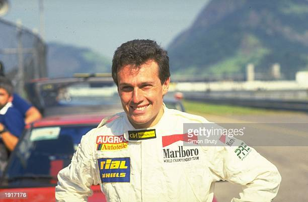 Portrait of Rial Cosworth driver Andrea de Cesaris of Italy before the Brazilian Grand Prix at the Rio circuit in Brazil Cesaris retired from the...