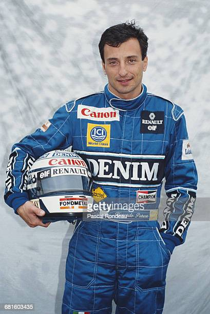 Portrait of Riccardo Patrese of Italy driver of the Canon Williams Renault Williams FW13B Renault V10 during pre season testing on 10 February 1990...