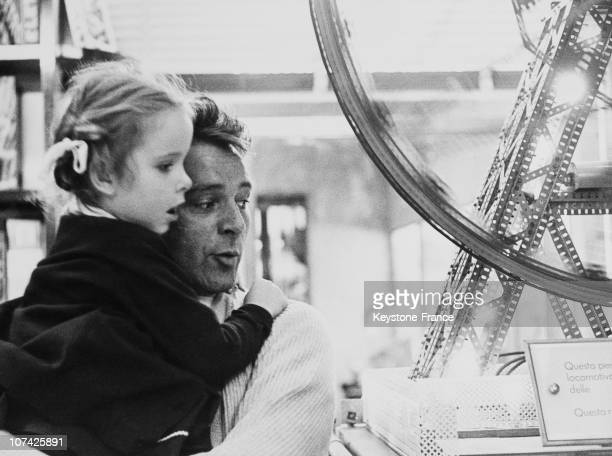 Portrait Of Richard Burton With His Daughter Jessica In Italy