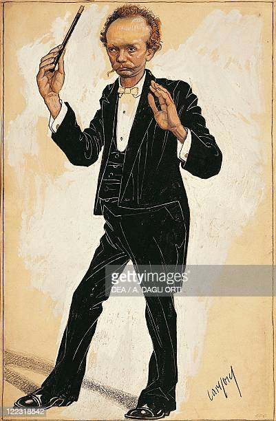 Portrait of Richard Strauss , German composer and conductor. Caricature.