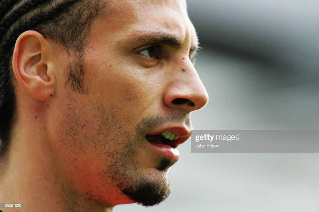 A portrait of Rio Ferdinand of Manchester United during the Barclays Premiership match between Manchester United and West Bromwich Albion at Old Trafford on May 7 2005 in Manchester, England.
