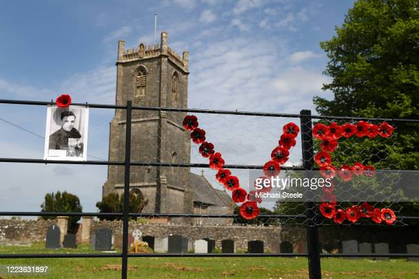 A portrait of Robinson Collins is displayed outside Holy Trinity Church commemorated on May 08 2020 in Binegar Somerset United Kingdom The UK...