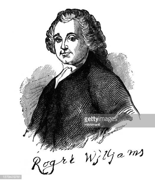 portrait of roger williams, puritan minister, theologian, and author who founded providence plantations - government minister stock pictures, royalty-free photos & images