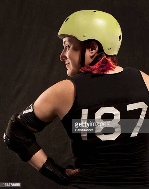 Portrait of roller derby woman from the back