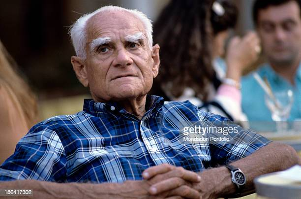 Portrait of Roman journalist and writer Alberto Moravia born Alberto Pincherle whose writing often depicted the malaise of the bourgeoisie Italy 80s