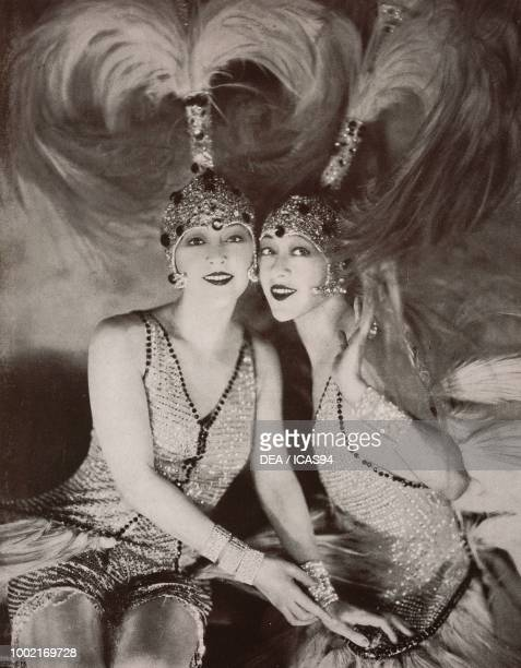Portrait of Rosie Dolly and Jenny Dolly known as The Dolly Sisters Hungarian identical twin dancers and actresses photograph by James Abbe from The...