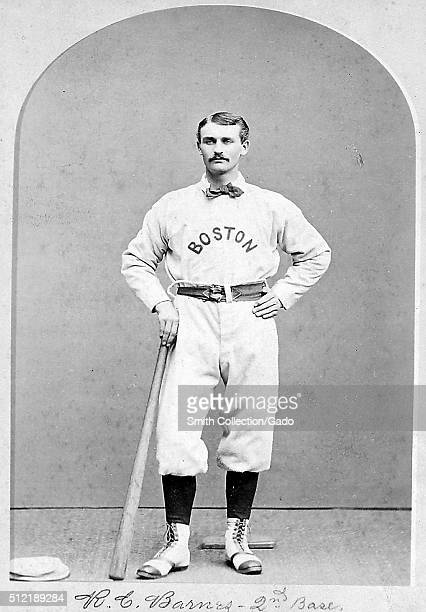 Portrait of Ross Barnes, one of the stars of baseball's National Association and the early National League , playing second base and shortstop, in...