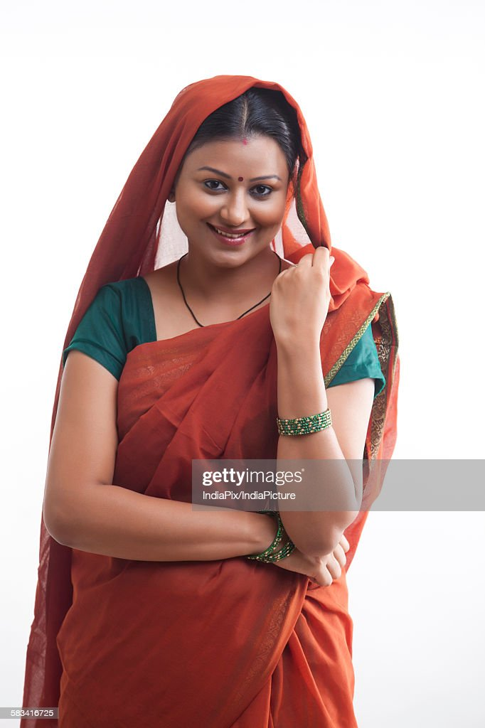 Portrait of rural woman smiling : Stock Photo