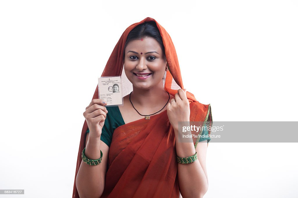 Portrait of rural woman with identity card : Stock Photo