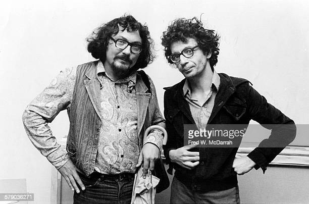 Portrait of Russian artists Vitali Komar and Alexander Melamid as they pose together in Andy Warhol's loft New York New York October 4 1978
