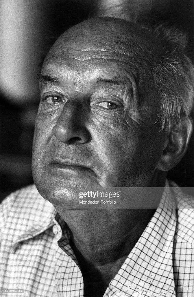 Portrait of Russian-born American writer Vladimir Nabokov. Montreux, 1973