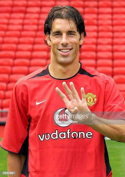 A portrait of Ruud van Nistelrooy during the Manchester United official photocall at Old Trafford on August 11 2003 in Manchester England