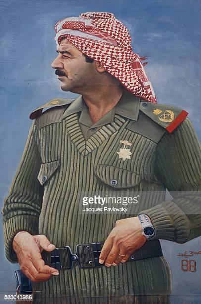 Portrait of Saddam Hussein in uniform