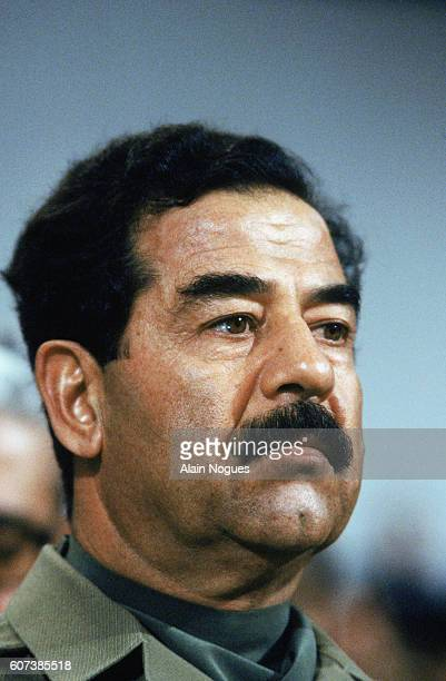 Portrait of Saddam Hussein Iraqi President during the Arab Summit