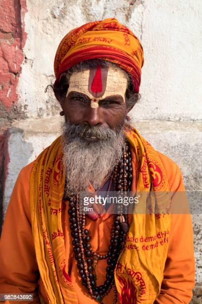 portrait of sadhu, holy man, kathmandu, nepal - brahmin stock pictures, royalty-free photos & images