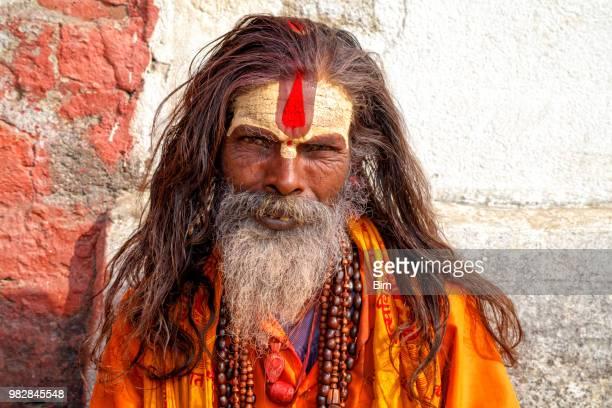 porträt von sadhu, heiliger mann, kathmandu, nepal - nepal stock-fotos und bilder