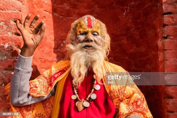 portrait of sadhu, holy man, kathmandu, nepal - nepalese ethnicity stock pictures, royalty-free photos & images