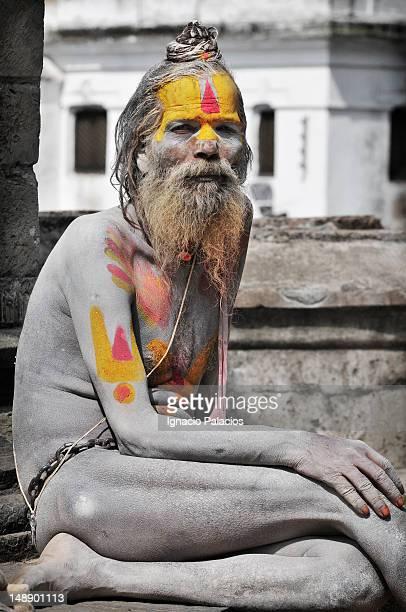 Portrait of sadhu in Pashupatinath Temple.