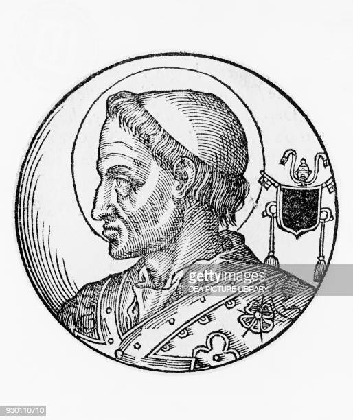 Portrait of Saint Hormisdas 52nd Pope of the Catholic Church from 514 engraving