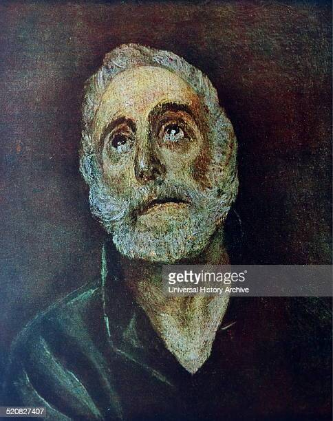 Portrait of Saint Peter one of the Twelve Apostles of Jesus Christ and leader of the early Christian Church Painted by El Greco born Doménikos...