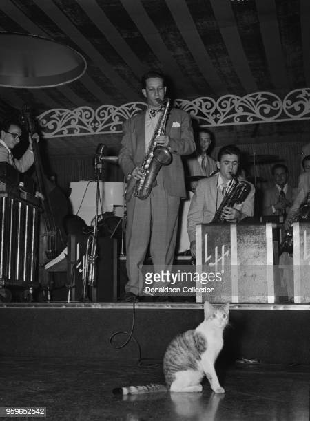 Portrait of Sam Donahue and Hep the Cat Aquarium New York NY ca Dec 1946 Caption from Down Beat Probably no dance band ever has played to so many...