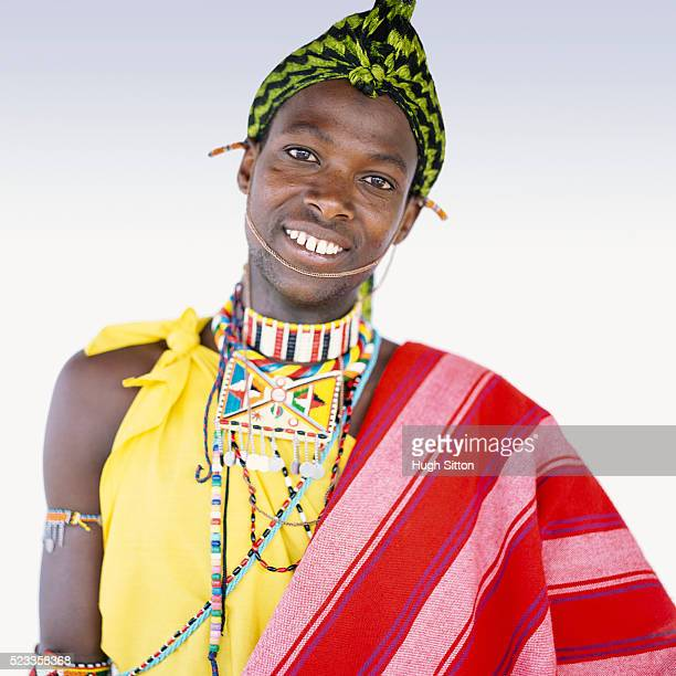 portrait of samburu tribesman - hugh sitton stock pictures, royalty-free photos & images