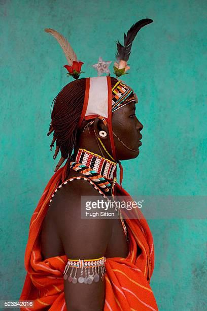 portrait of samburu warrior - hugh sitton stock pictures, royalty-free photos & images